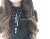 NEW - Natural Quartz Crystal Necklace - 925 Sterling Silver - Free Domestic Shipping