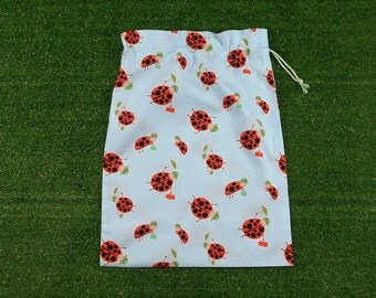 Ladybirds medium drawstring bag for gifts, toys, treasures, kids ladybugs bag