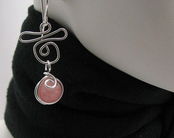 Pink Opal Gemstone Silver Wire Wrapped Dangle Earrings Handmade by Pixes Treasure Chest