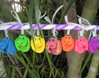 Mini Bright Rainbow Manatee Ornaments
