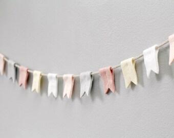 Peach Felt Flag Banner. Nursery Garland. Modern Notched Flag Bunting. Felt Flag Garland. Handmade by OrdinaryMommy