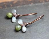 Vesuvianite Moonstone Earrings Copper Wire Wrapped Gray Green Gemstone Earrings Rustic Jewelry Clover Triple Briolette Drop