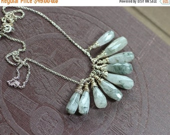 On Sale Tourmalinated Quartz Necklace Black and White Gemstone Cluster Necklace Antiqued Silver Fringe Necklace Gray Rustic Jewelry
