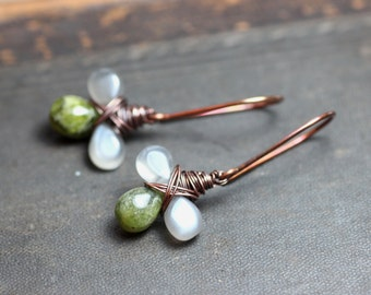 Vesuvianite Moonstone Earrings Copper Wire Wrapped Gray Green Gemstone Earrings Rustic Jewelry Clover Triple Briolette Drop