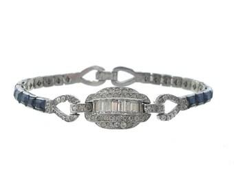 Sapphire Art Deco Bracelet, Antique 1920s Fine Jewelry, Vintage Designer Line Bracelet, Art Deco Wedding Jewelry, Blue Bridal Bracelet