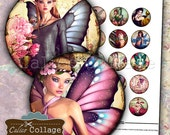 Fairy Forest Digital Collage Sheet 1.5 Inch Circle Images for Cabochon, Jewelry Pendants, Printable Journals, Fantasy Images, Digital Fairy