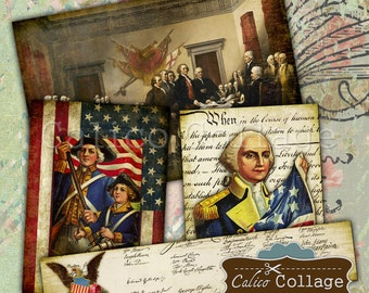 4th of July Digital Collage Sheet for Scrapbooking and Journaling Vintage Craft Paper Gift Tags Decoupage Paper CalicoCollage Decoupage