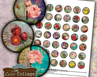Grunge Roses Digital Collage Sheet Vintage Roses 1 Inch Circles Bottle Cap Images Pendant Images Printable Images Calico Collage Decoupage