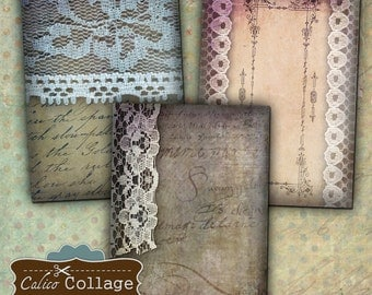 Vintage Lace Digital Collage Sheet 2.5x3.5 ATC Size Printables for Jewelry Holders, Earring Cards, Mini Cards, Greetings Cards, Hang Tags