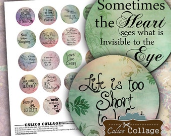 Words to Live By Digital Collage Sheet Motivational 1.5 Inch Circles for Pendants, Decoupage, Jewelry Supply, Mixed Media Art, Word Art