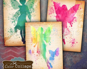 Watercolor Fairies 2.5x3.5 inch size Tags Digital Collage Sheet Printable Download Vintage Paper Craft Greeting Cards Paper Scrapbook Images
