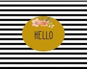 Thank you note cards hello cards striped vintage flowers mustard color stationery bridesmaid cards