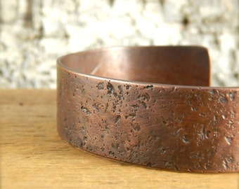 Copper cuff *crater finish* custom wrist size, choice of width, 5/8 inch is shown.