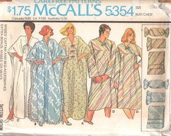 McCalls 5354 1970s Misses CAFTAN Pillows Bed Caddy Pattern Mens Womens CONVALESCENT COAT Vintage Sewing Size Sm Bust Chest 34 36 Or Lg UNCut