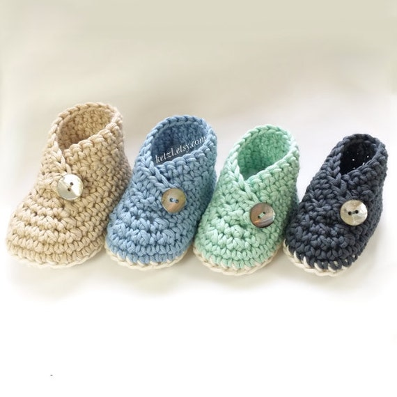 Crochet pattern baby booties shoes unisex boys or girls kimono