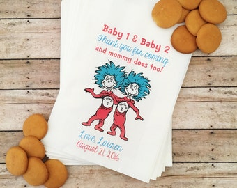 Baby Shower For Twins, Dr. Seuss Baby Shower, Baby Shower Treat Bags, Baby Shower Favor Bags, Gender Reveal, Favor Bags, Thing 1, Thing 2
