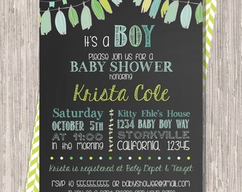 Chalkboard Baby Boy Shower Invitation with  garlands, 5x7 printable design
