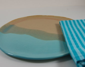 """Large Pottery Plate, 9 1/2"""" Dish, Cake Plate, , Serving, Turquoise Bamboo Glaze"""