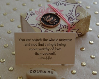 Lotus Message Box with Courage Message Stone and Gift Bag