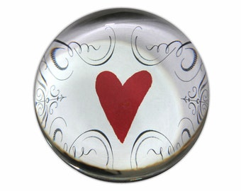 Glass Paperweight with red heart