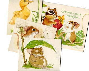 Cute Note Cards Mouse Chipmunk Duckling Small Animals Vintage Paper Stationary Blank Cards Birthday Card Current Merry Mischief Makers