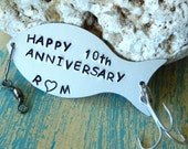 Fishing Gifts, 10th Anniversary Gift, Fisherman Gift, Personalized Fishing Lure, HAPPY ANNIVERSARY, Custom Fishing Lure...You Choose Years