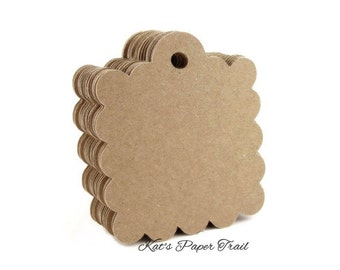 Paper tags - Craft tags - Wedding favor tags - Gift tags - Kraft tags - Scallop - 2.5 inch x 2 inch