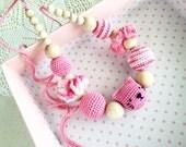 Nursing necklace - Pink Cat - amigurumi cat - Teething necklace - nursing baby mommy necklace- Cat amigurumi