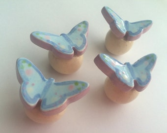 Soft Blue and Lavender Butterfly knobs, draw pulls, handles