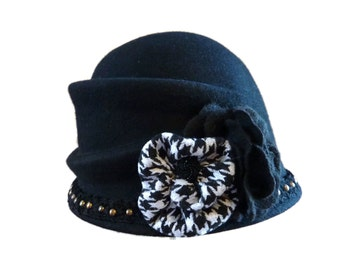 "Women's Black Felt Cloche Hat, Downton Abby Style, Vintage Inspired Cloche Hat - ""Sophisti-Cutie"""