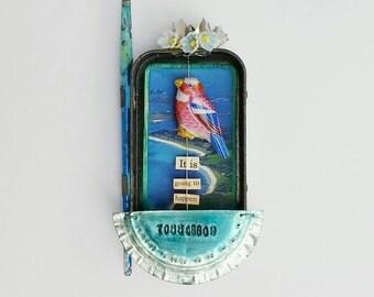 blue bird of happiness - shrine, niche, assemblage