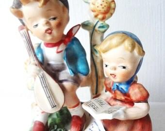 RIES BOY Playing Mandolin GIRL Reading Book Ceramic Figurine