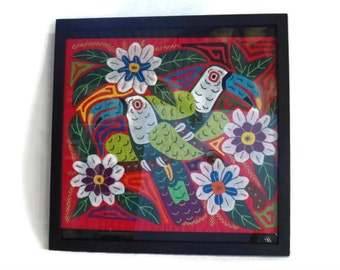Framed Hand Appliqued, Hand Embroidered, Hand Stitched Folk Art Quilt Block, Tropical Birds in Foliage, Exotic Wall Hanging