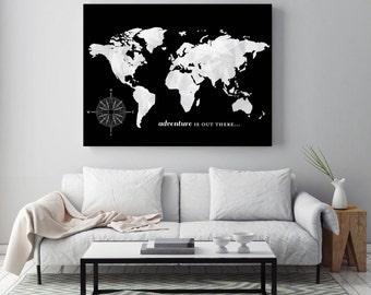 Custom Map Art, Unique Travel Map, World Map Decor, Office Wall Art, Housewarming Gift // Choose Art Print or Canvas // H-I13-1PS AA5 OP4