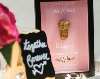 First Toast Cork, Custom Anniversary Gift, DIY Gift, Wedding Anniversary, Custom Gift, Personal Cork, Shadowbox Print // W-D01-1PS AA3 06S