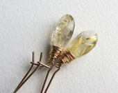 Gold Rutilated Quartz Earrings with Gold Fill Kidney Earwires - Handcrafted in Seattle - Handmade Jewelry