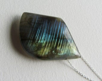 Asymmetrical Flashy Labradorite Gemstone Necklace - Made in Seattle