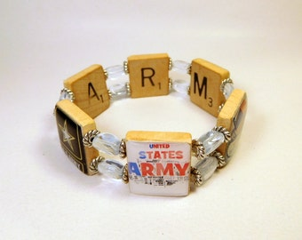 ARMY JEWELRY / SCRABBLE Bracelet / Military Gift / Upcycled Handmade