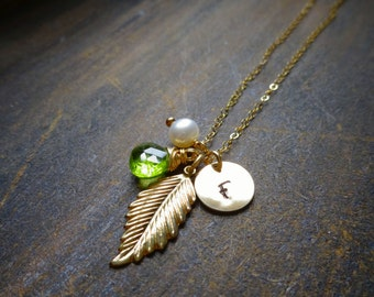 Gold feather necklace, charm necklace with birthstone & initial, initial necklace, personalized charm necklace, trendy jewelry, briguysgirls