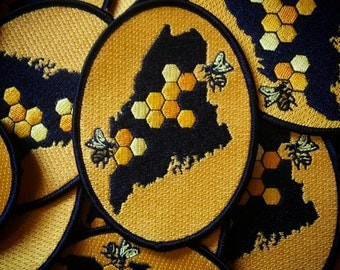 Embroidered Iroin On Patch Maine Honey Bee Oval State