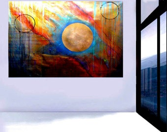 """Huge 72"""" Original ABSTRACT PAINTING modern art colorful contemporary wall art acrylic textured planets  fine art  Carol Lee - Leearte"""