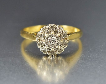 ON HOLD Diamond Victorian Engagement Ring, 18K Gold Antique Diamond Ring, Victorian Diamond Cluster Ring Antique Ring Mine Cut Diamond