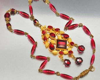 Deco Czech Glass Necklace, Garnet Beads Necklace, Art Deco Necklace, Antique Pendant Necklace, Art Deco Jewelry, Art Deco Czech Necklace