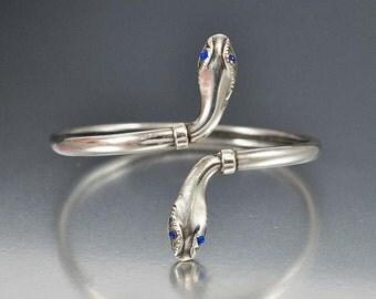 Victorian Snake Bracelet, Sterling Silver Cuff Bracelet, ByPass Victorian Bracelet, Antique Jewelry, Serpent Bangle Bracelet, Snake Jewelry
