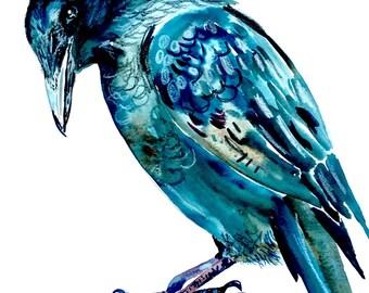 "Crow Watercolor Painting, Original Art, Fall Decor 11""x15"""