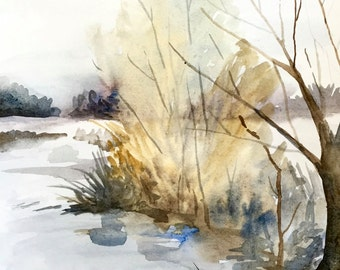 "Winter Woods, Watercolor Landscape Painting, Original Art, 9""x12"""