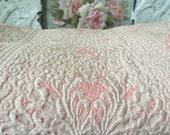 Vintage Shabby Chic Pink/Cream Covelet Bedding -  Shabby Cottage Charm - Paris Apartment Decor