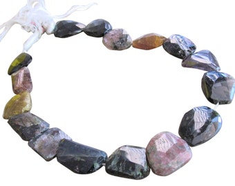 Watermelon Tourmaline Beads, Faceted nuggets, Luxe AAA, October Birthstone, Multi Color Gemstone, SKU 3361