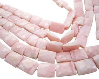 Pink Opal Beads, Pink Peruvian Opal, Pink Opal Pillow, 12mm x 18mm, Faceted Pillow, SKU 4025A