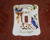 Light Switch Cover Porcelain Good Morning Night Blue Birds Vintage Cardinal China Hardware B